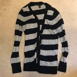 Tommy Hilfiger Blue + Gray Striped Cardigan
